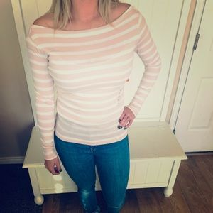 Blush and white boat neck tee